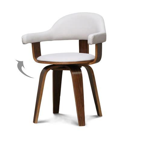 chaise design simili cuir blanc et bois massif walnut