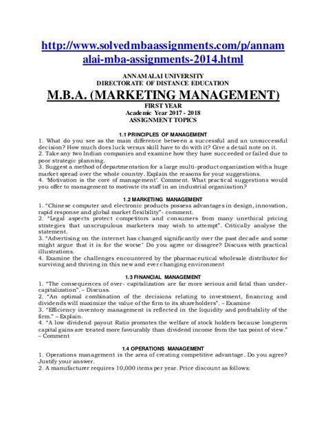 Mba Annamalai Distance Education Assignments by Annamalai