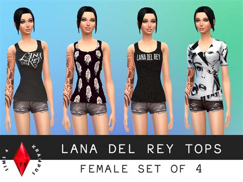 sims 4 custom content dresses the sims 4 female set of 4 lana del rey tops this