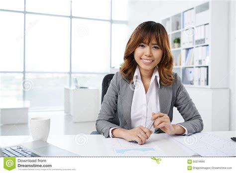 asian desk pretty office manager stock photo image 65274666