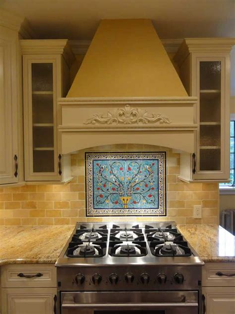 tile backsplash mural mike s peacock and pomegranate tree tile mural backsplash 30 x 24 inches kitchen backsplash