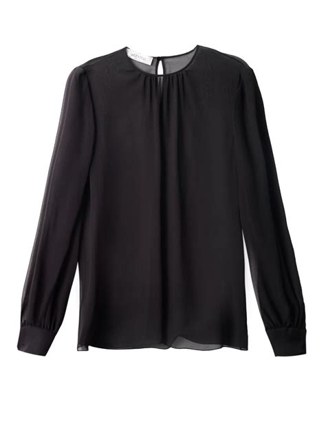 Black And White Chiffon Blouse by Valentino Sheer Chiffon Blouse In Black Lyst