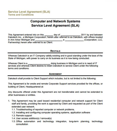 support sla template sle service level agreement 13 exle format