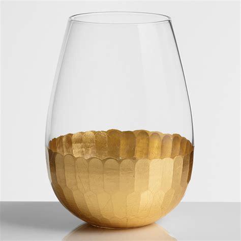 gold barware gold stemless wine glasses set of 4 world market