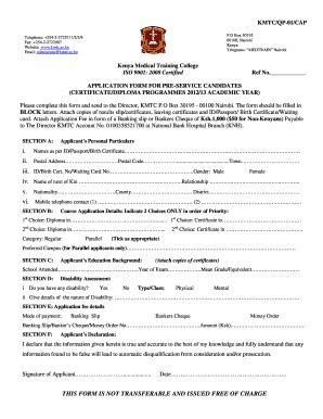 application letter for kmtc kmtc application form fill printable fillable