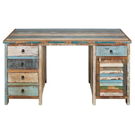 scrivanie maison du monde scrivania a 1 anta e 5 cassetti in legno riciclato