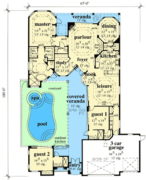 house plans with a courtyard exciting courtyard house plan 33532eb 1st floor master