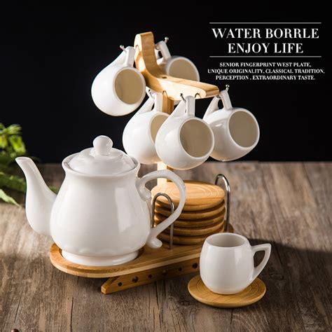 Japanese style simple ceramic coffee tea cup set 1 teapot 6 cups 6 saucer 1 shelf set English