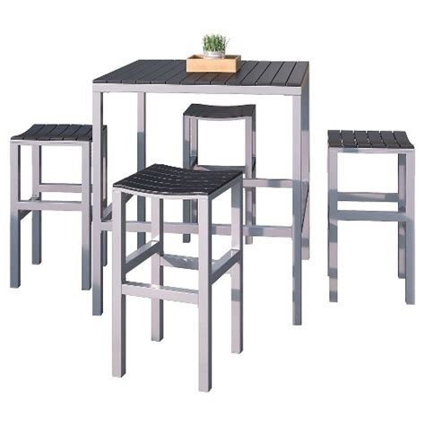 Bar Height Bistro Table Outdoor Corliving 5pc Outdoor Bar Height Bistro Set Black Silver Target