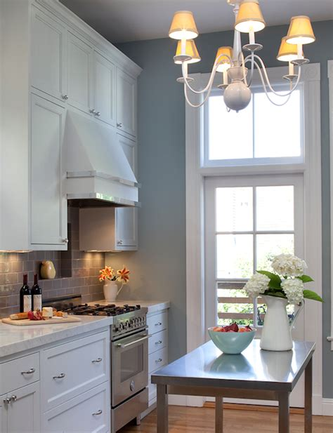 gray blue kitchen gray subway tile transitional kitchen