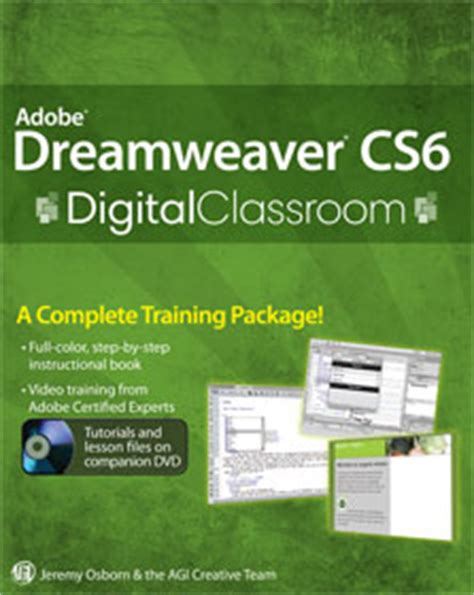 tutorial adobe dreamweaver cs6 español pdf digital classroom books from american graphics institute