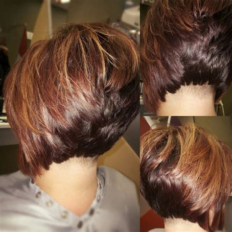 different hairstyles of an elevated bob hairstyle undercut stacked bob with high lights and low lights