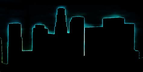 skyline downtown los angeles neon outline photograph