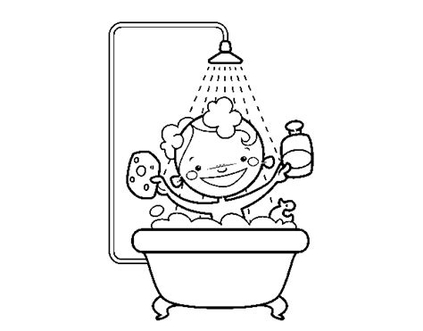 Page Shower boy in the shower coloring page