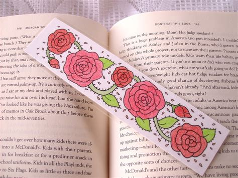 printable pencil bookmarks red rose bookmark by peachpodhandmade on deviantart