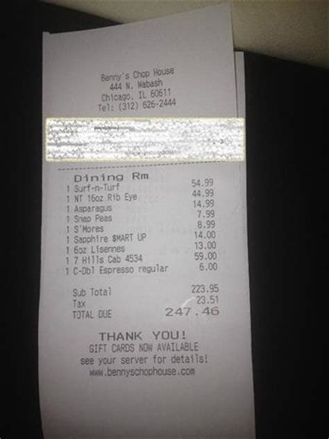 bennys chop house bill picture of benny s chop house chicago tripadvisor