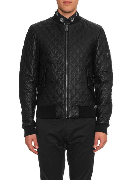 Dolce Jacket lyst dolce gabbana quilted leather bomber jacket in