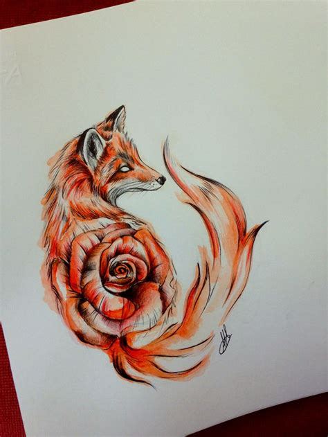 wolf with rose tattoo the 25 best fox tattoos ideas on fox sketch