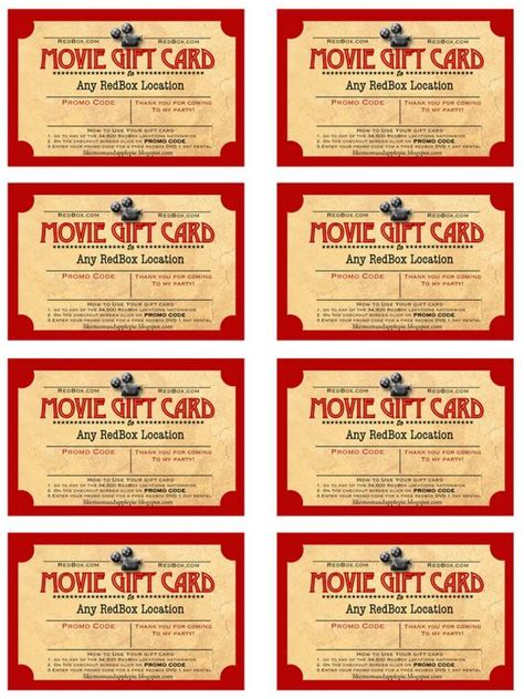 redbox printable gift certificates movies free gifts and free printables on pinterest