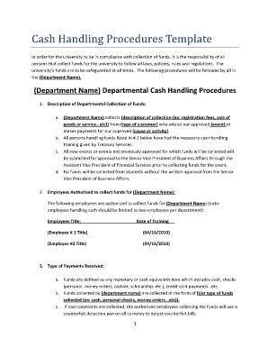 Cash Handling Procedures Template Fill Online Printable Fillable Blank Pdffiller Liquidity Policy Template