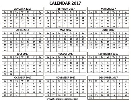 3 Calendars On One Page Printable 2017 Calendar One Page 12 Month Calendar