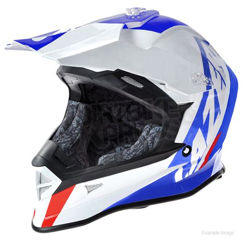 lazer motocross lazer x8 whip helmet white blue red dirtbikexpress