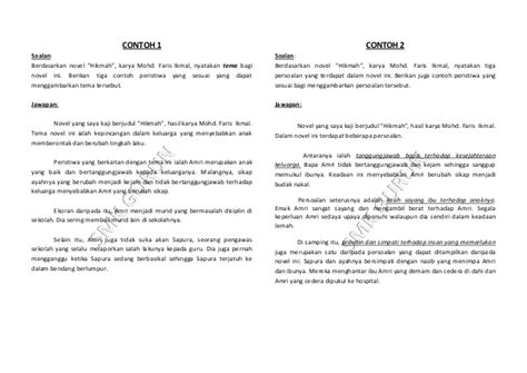 contoh membuat review novel cara membuat jawapan novel contoh jawapan kajian novel pmr