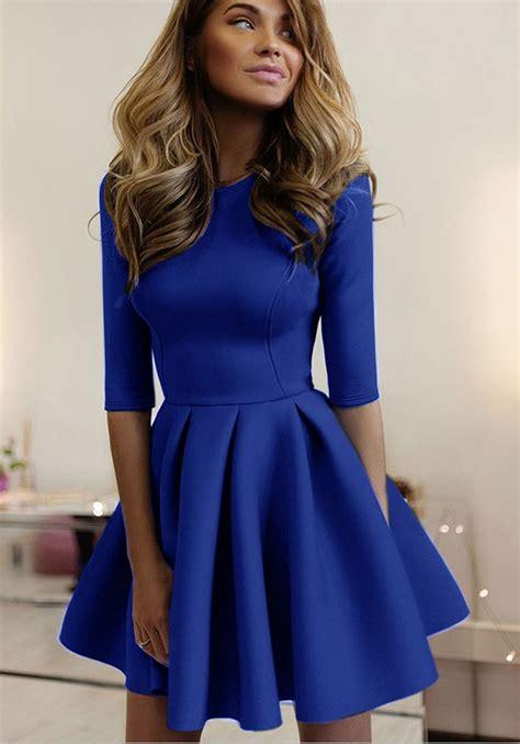 Sleeve Plain Mini Dress blue plain pleated neck sleeve mini dress