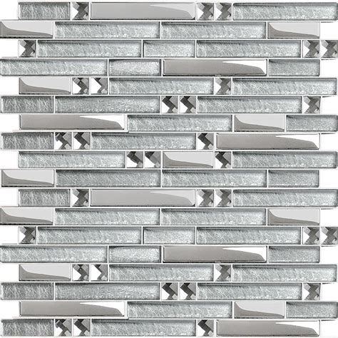 metal glass tiles for kitchen backsplash silver