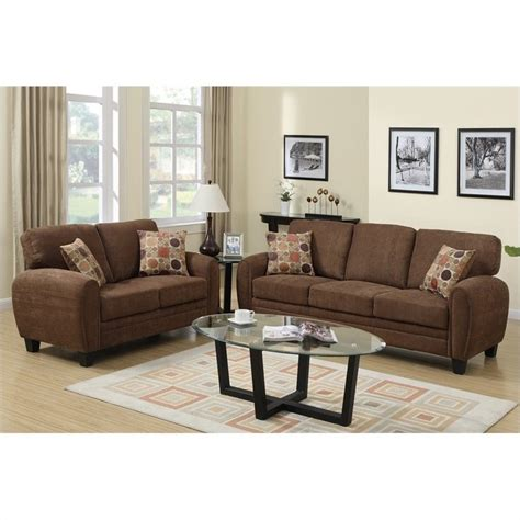 brown sofa and loveseat sets poundex bobkona torrance sofa and loveseat set in dark
