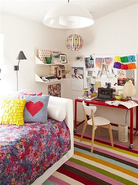 colorful teenage girl bedroom ideas colorful striped rug and floral bedding set for simple