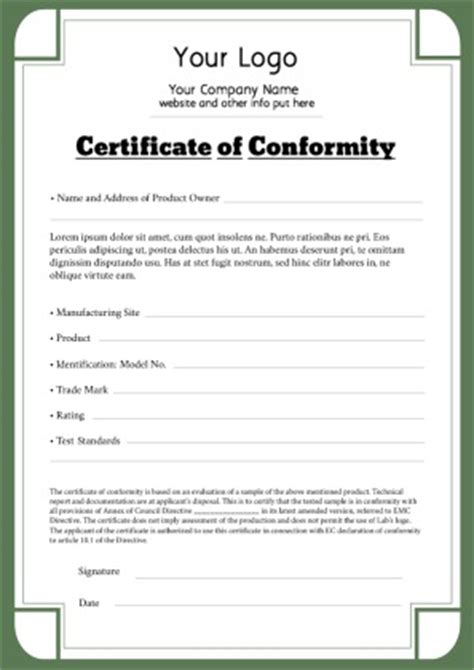 certificate of conformance template pin ce certificates on