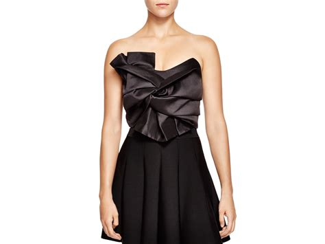 Bustier Tops by Endless Cropped Bow Bustier Top In Black Lyst