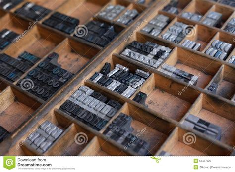 writing printing paper machine metal printing press letters stock photo image 50457825
