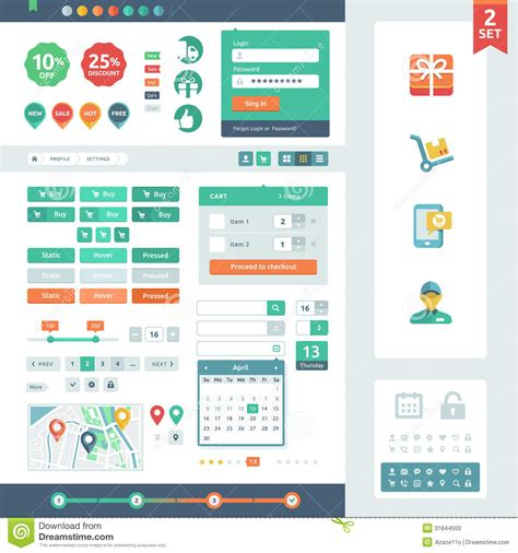 flat design ui elements vector ui elements for web and mobile stock photo image