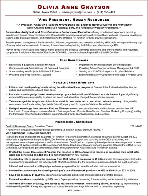 Resume Sles For Hr Executive Sle Resume Of Hr Executive Gallery Creawizard