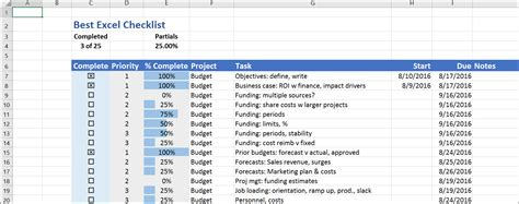 The Best Excel Checklist Critical To Success Excel List Template