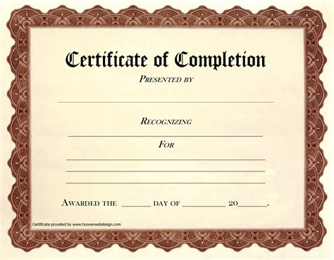 certificate of completion of template completion certificate templates free image