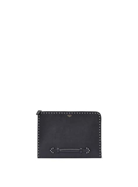 la perle folio french zip folio nero con borchie in french calf bertoni 1949