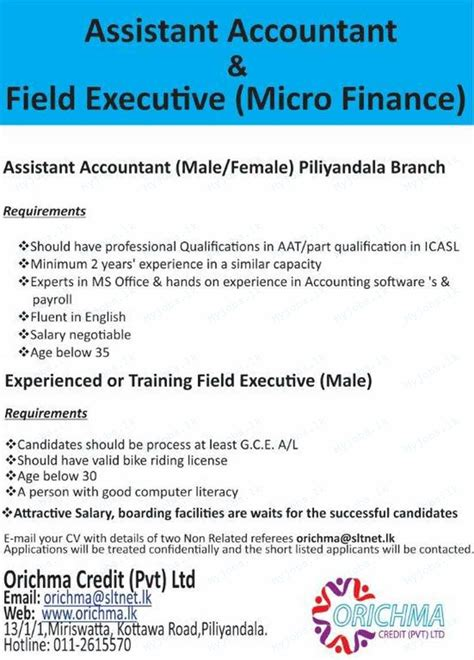 assistant accountant field executive in sri