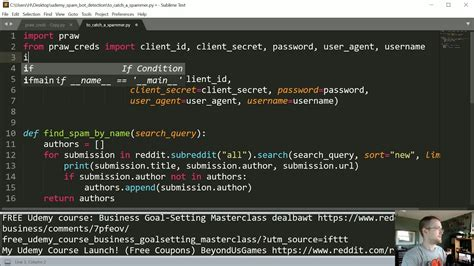 python zipline tutorial creating a reddit bot to detect spam python reddit api