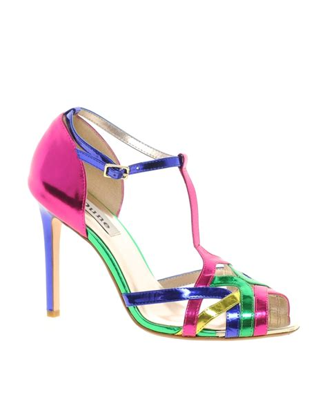 color sandals lyst dune havian multi color heeled sandals