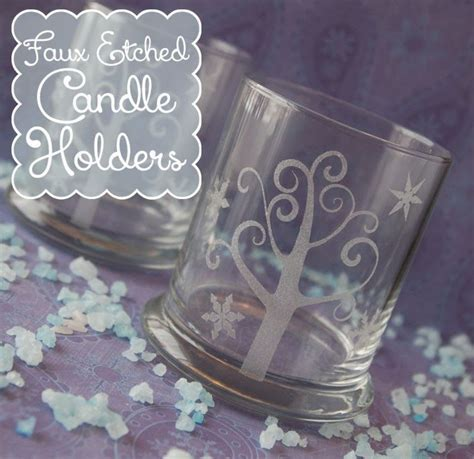 Etched Vinyl Projects - faux etched candle holders vinyl projects