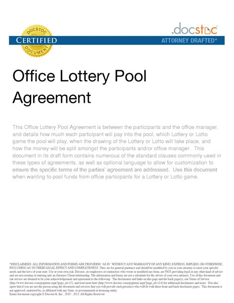 lottery pool contract free printable documents