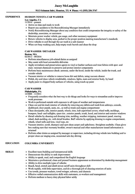 cool car wash resume sle images resume ideas