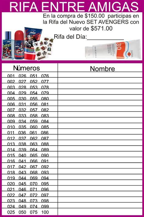 Rifa Top hoja de rifa 100 numeros para imprimir lista de rifa