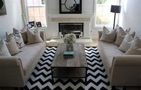black and white chevron rug contemporary living room