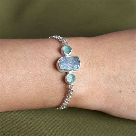 Handmade Sterling Silver - moonstone and aquamarine handmade sterling silver bracelet