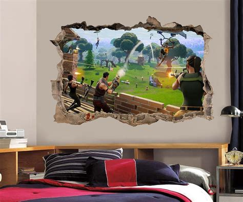 fortnite bedroom 8 99 fortnite 3d smashed wall sticker decal home decor
