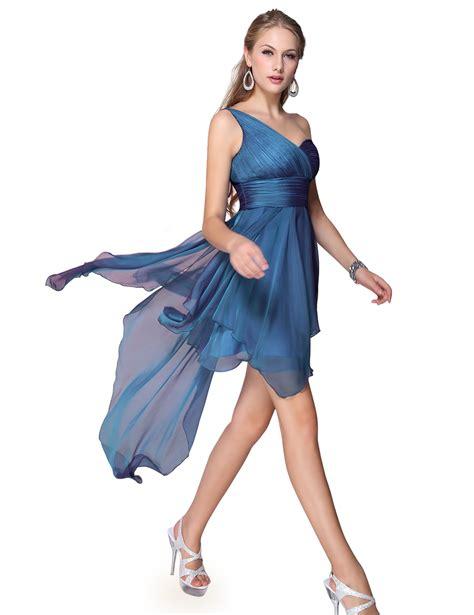 Chiffon Dress Blue Wanita Original Import us s one shoulder chiffon casual cocktail prom dress 06093